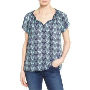 Caslon Cuffed Sleeve Peasant Top